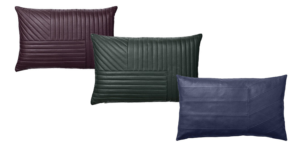Embroidered leather cushions by AYTM