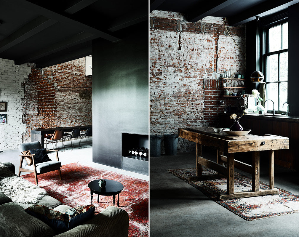 raw original brickwork and warehouse windows feature in this warehouse conversion.