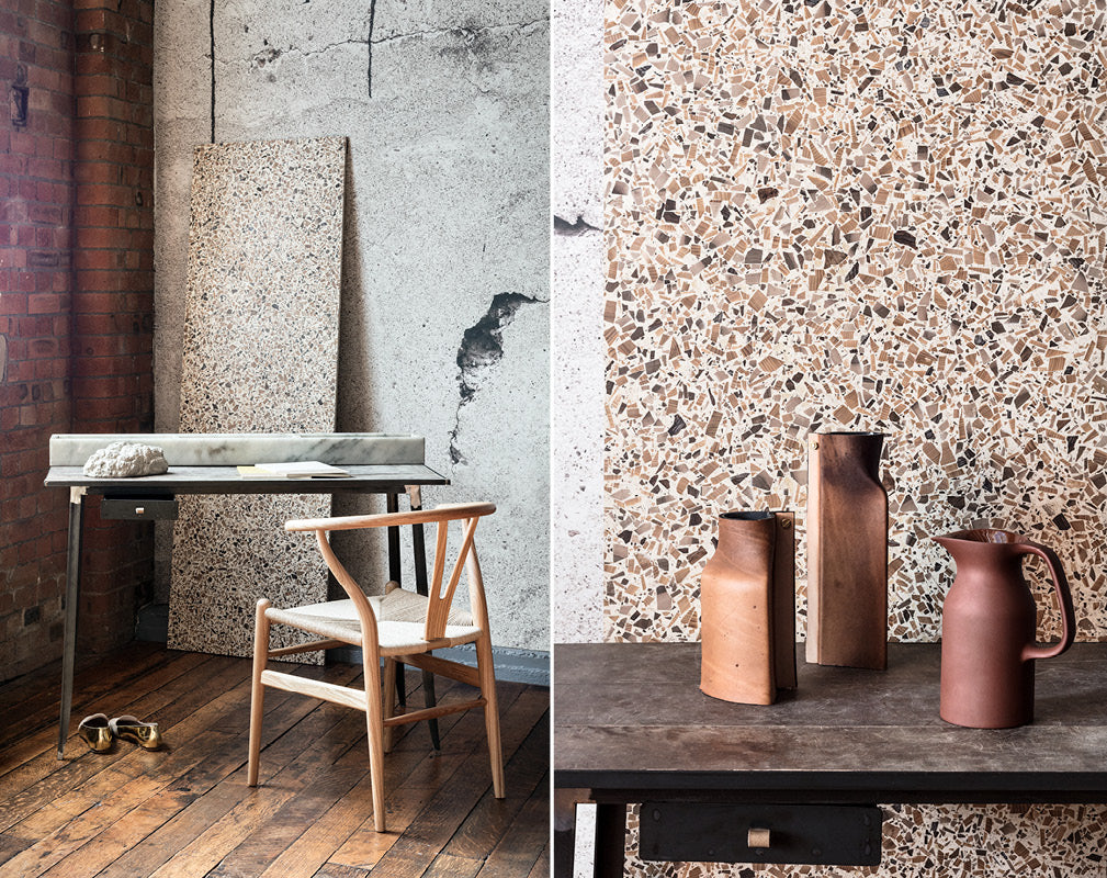 Contemporary industrial home office scheme with exposed brick wall terrazzo and concrete