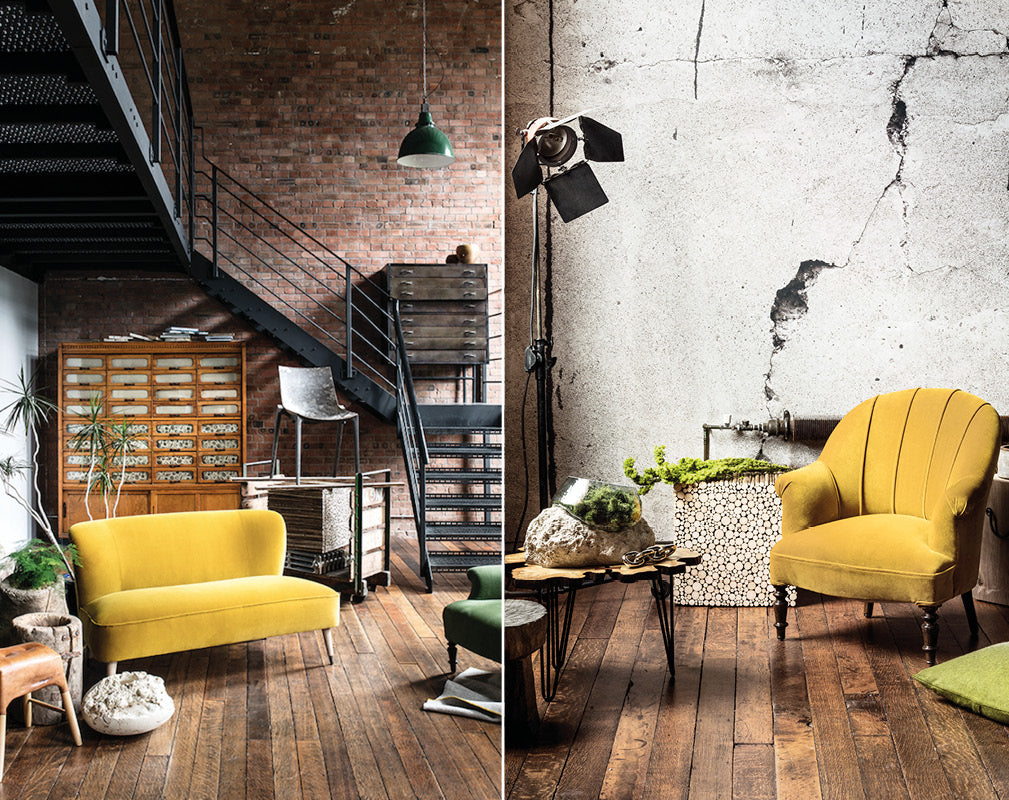Living room and stair case with ochre yellow accents and industrial detail