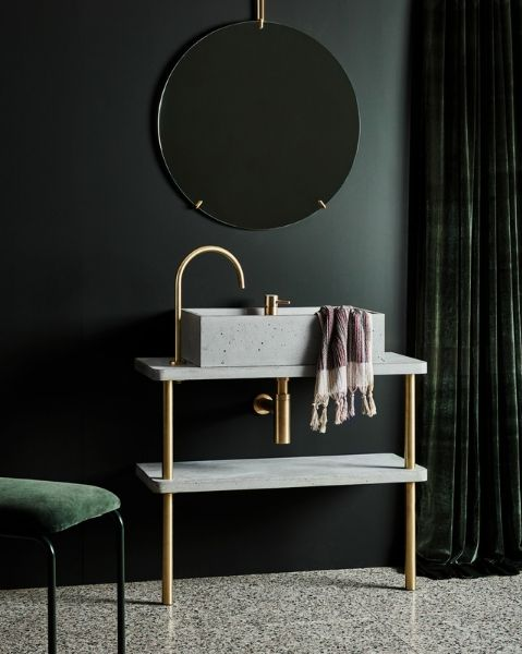 Wood Melbourne - Concrete basin on vanity with brass legs