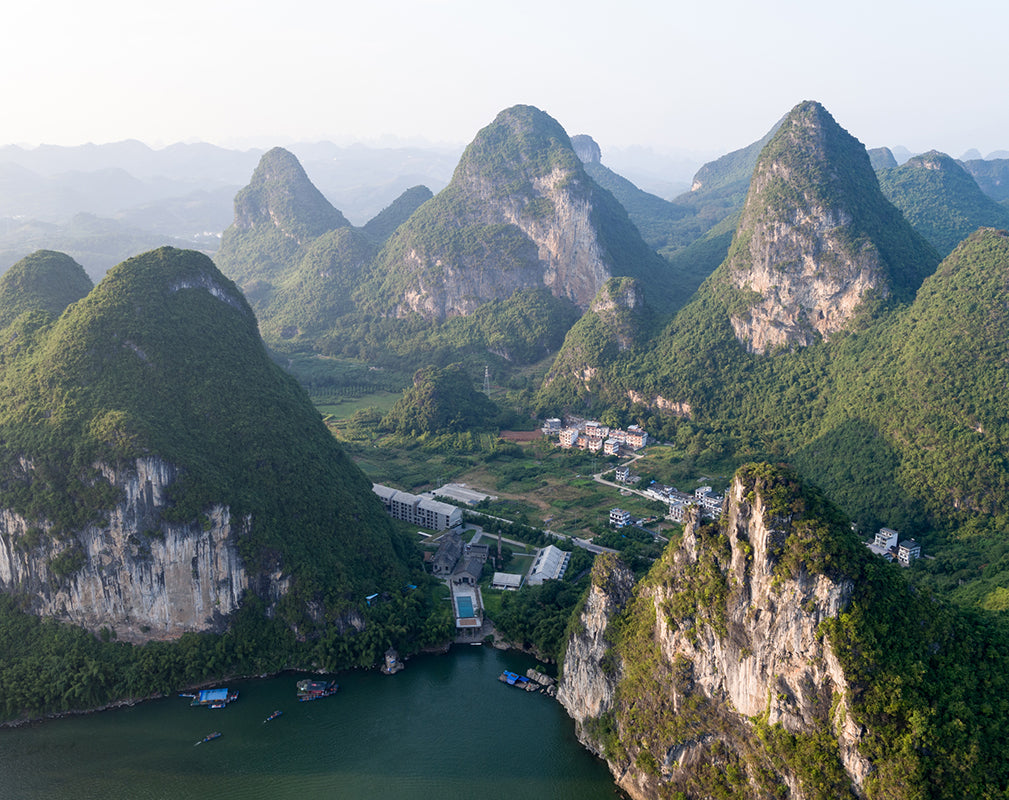 aerial view of alila yangshuo a converted sugar factory in china photography by hao chen