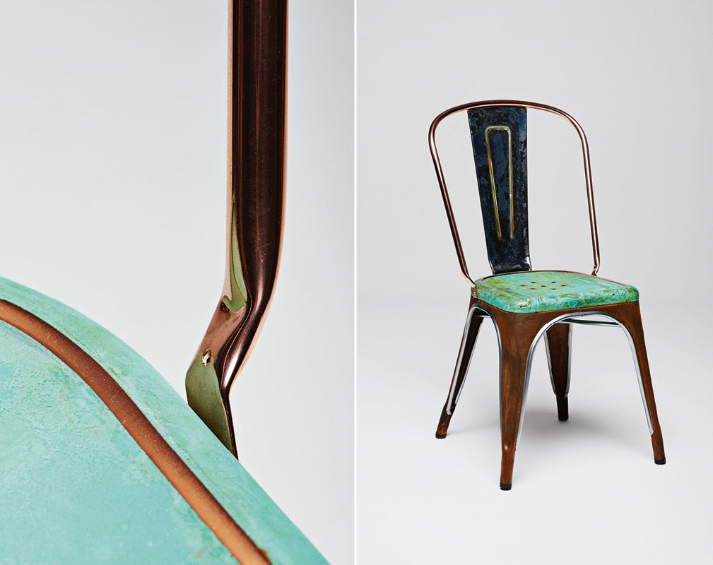 alteration for tolix iconic a chair with patinated copper finish