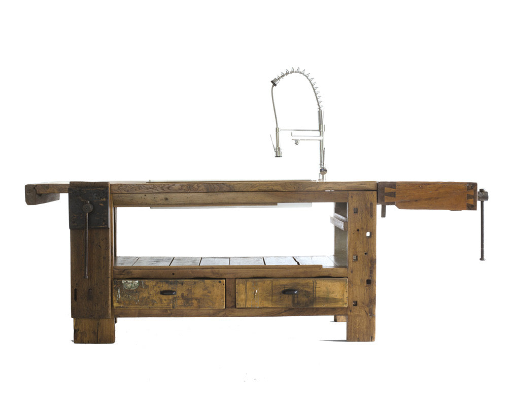 upcycled kitchen workbench made from reclaimed timber by manoteca