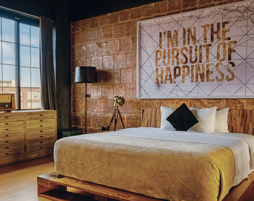 contemporary bedroom scheme inside the paper factory hotel, new york