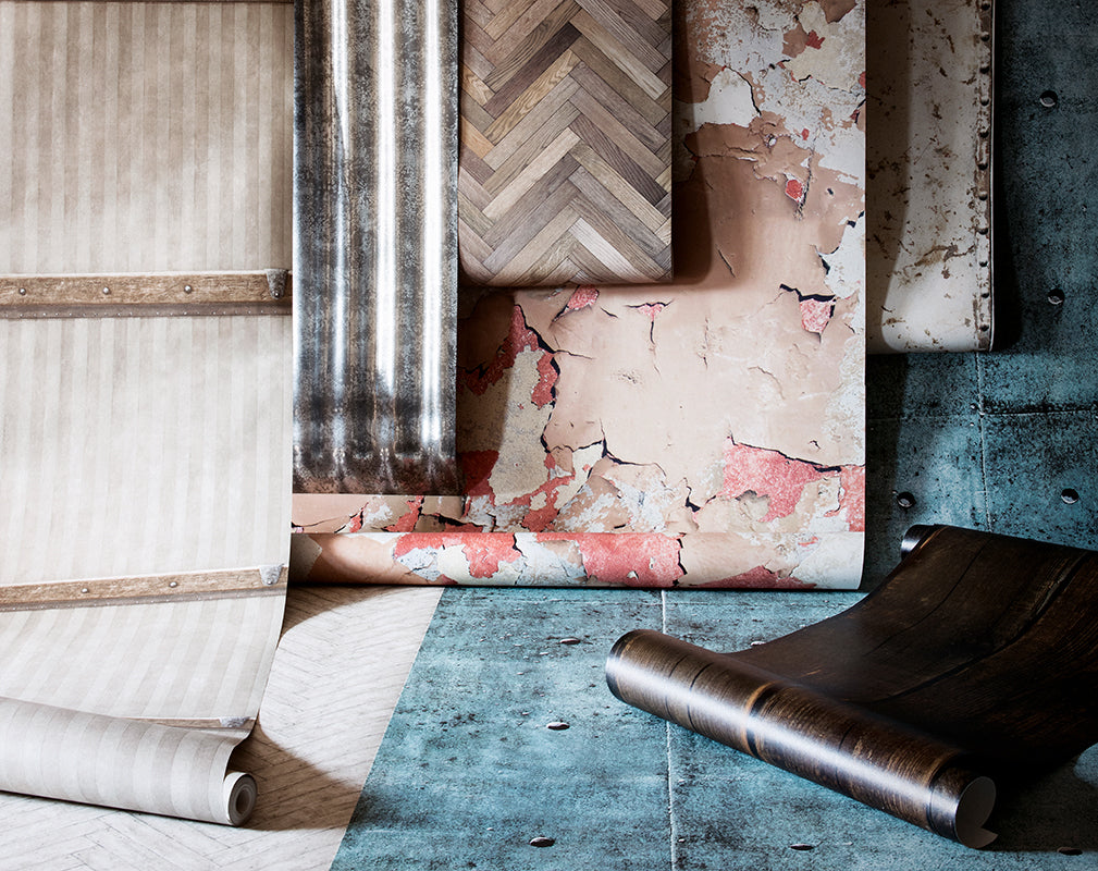 five wow factor wallpapers in industrial style