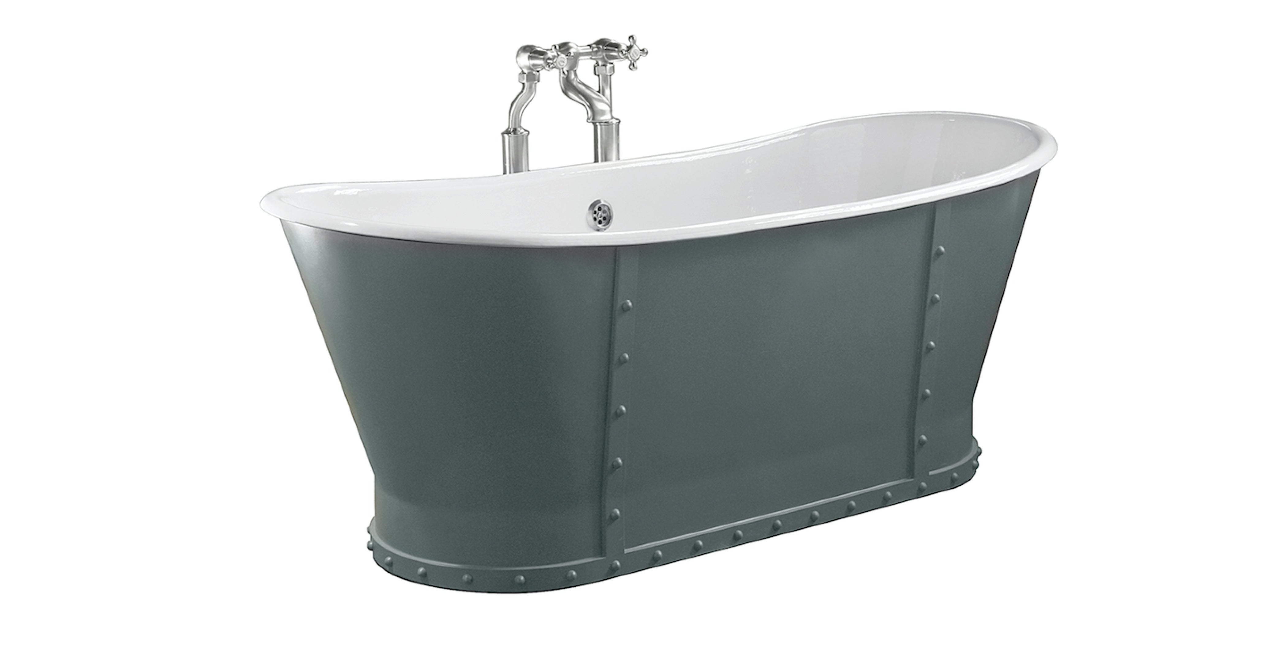 industrial style bath with rivet detail from aston matthews