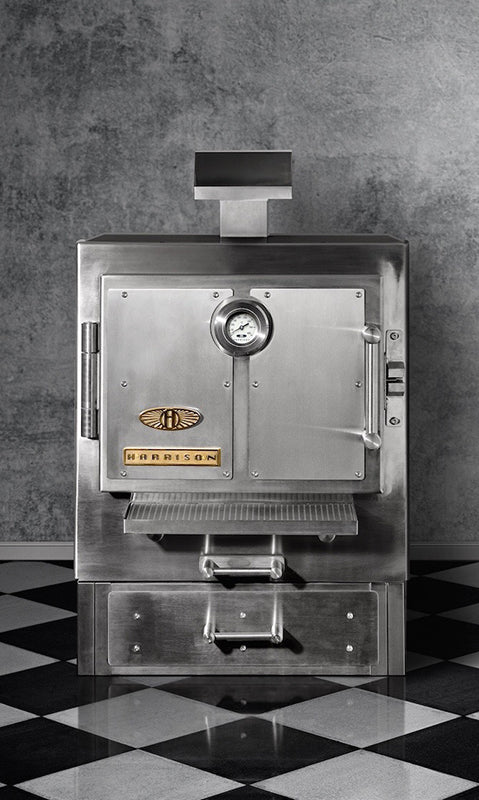 industrial harrison oven with concrete background and tiles floor