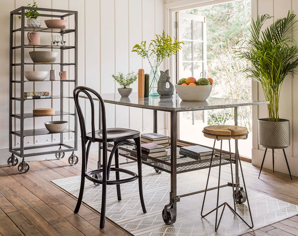 shop this industrial style iron shelving unit and dining table exclusively at graham and green