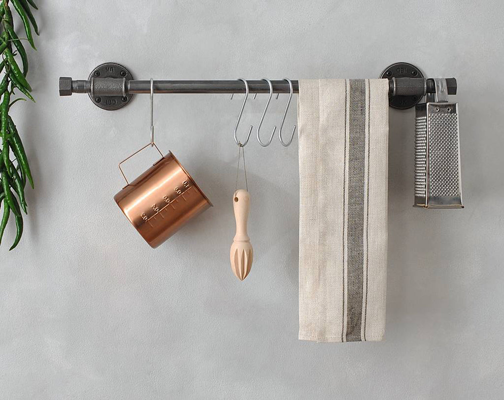 industrial style wall mounted kitchen rail by moa design