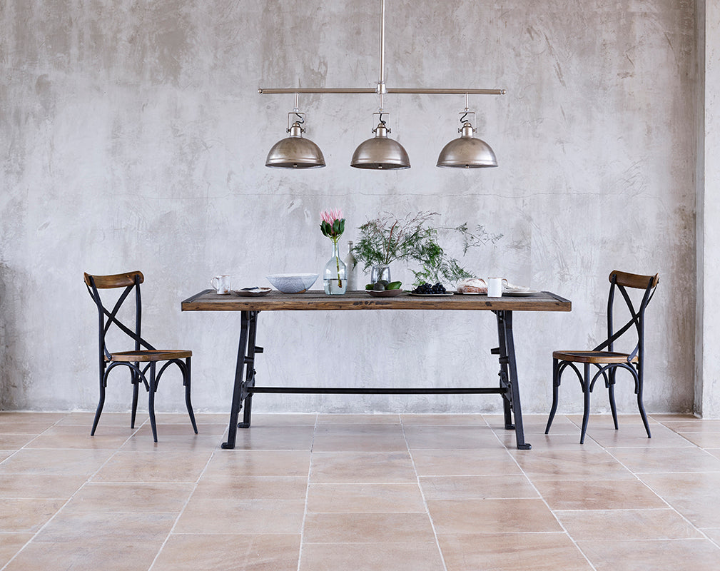 industrial furniture and lighting available to buy from lombok styling by anna mackie photography by brad stephens