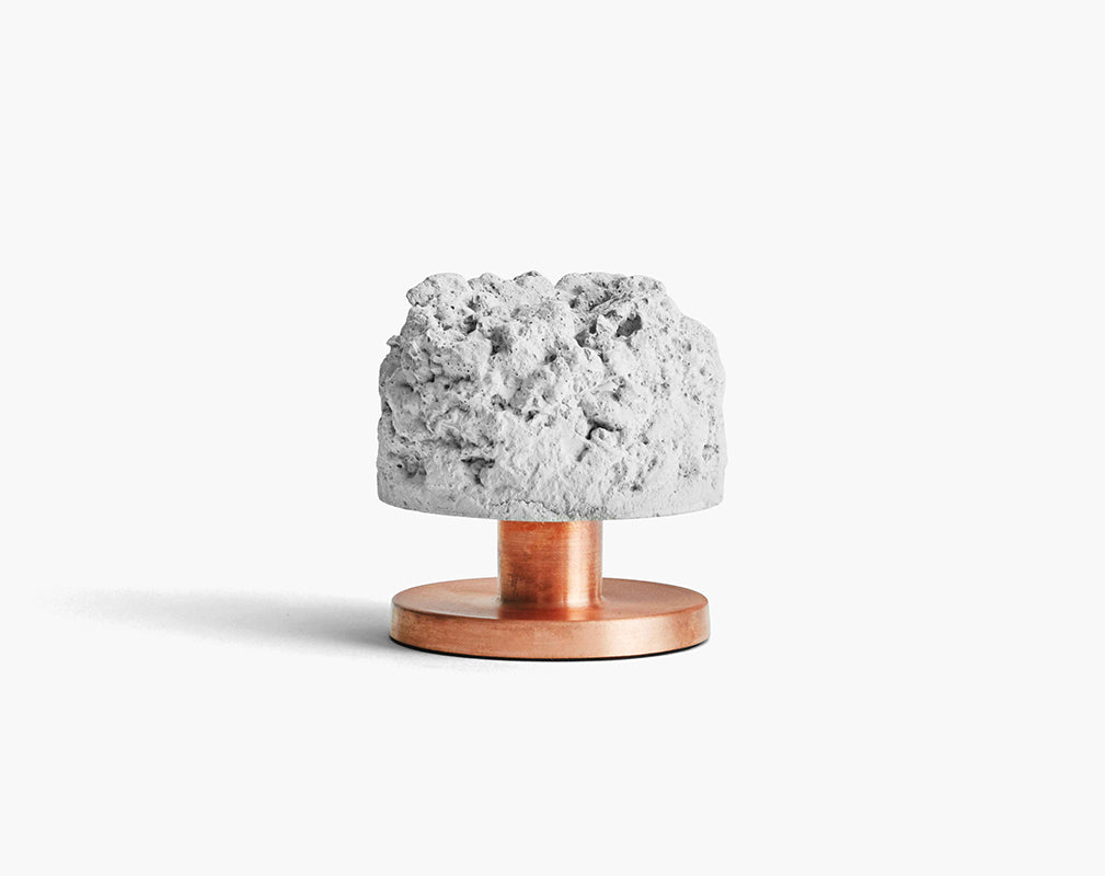 rough billy crowd candleholder with concrete and copper from newworks