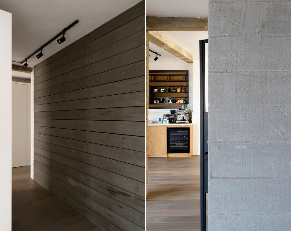 Walls of peeling paint floorboards, board-form concrete and formwork feature heavily in this converted warehouse home byWilliam Tozer Associates