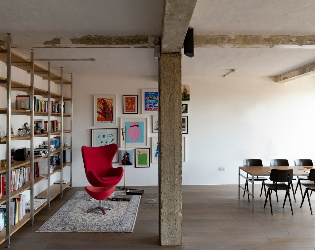 A converted warehouse home in a former industrial building in Clerkenwell