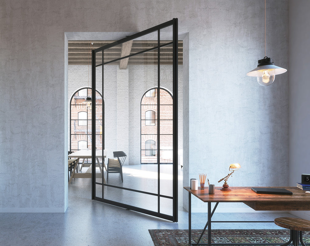 portapivot create modern glass and iron partitions inspired by warehouse windows