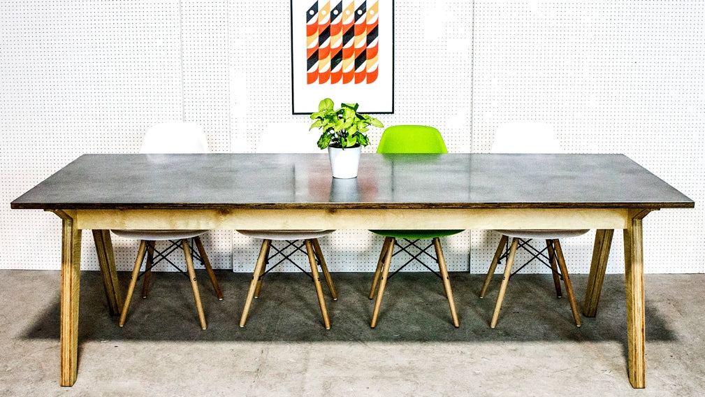 An industrial plywood and zinc dining table from Rigg