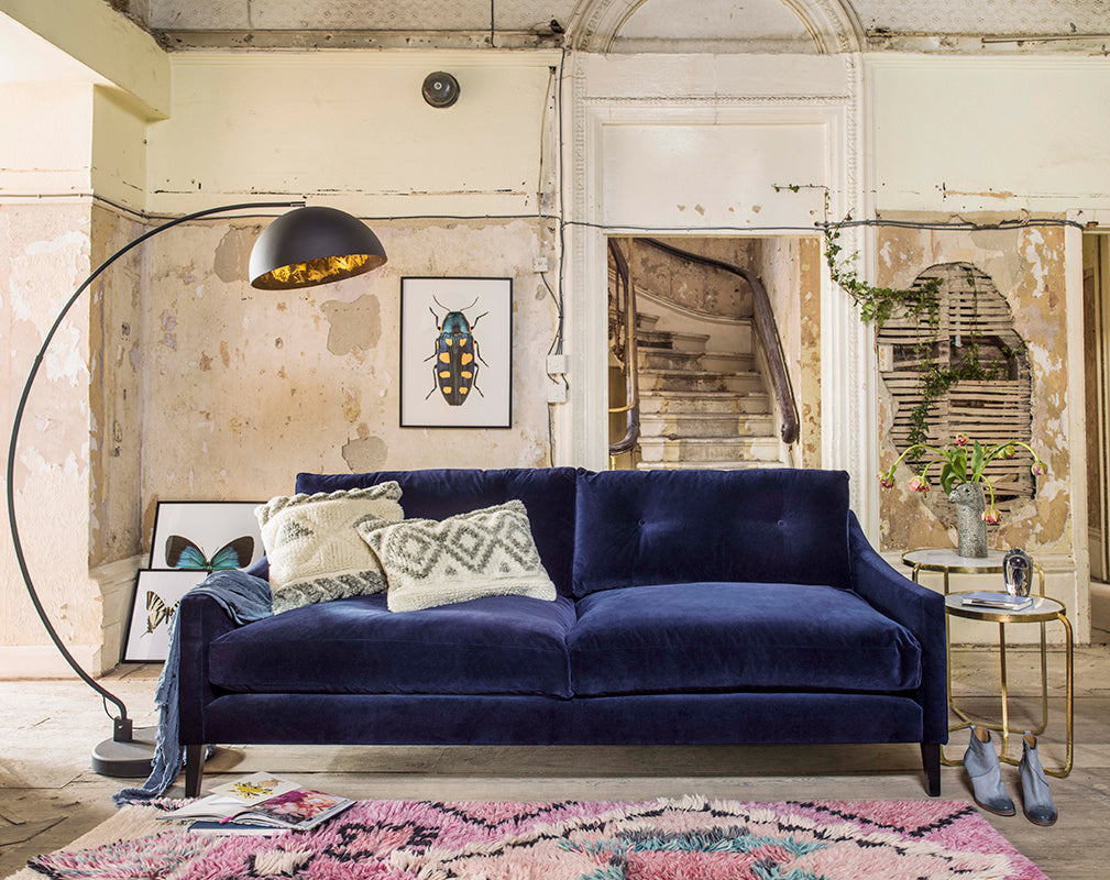 This season's interior design trends see playful berber mixed with jewel toned velvet. Photography by Mel Yates