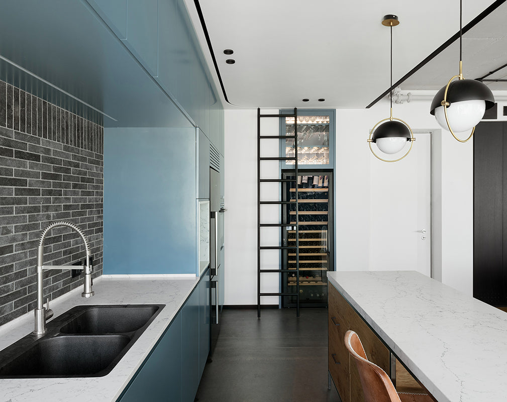 contemporary kitchen in tel aviv apartment features vintage industrial details