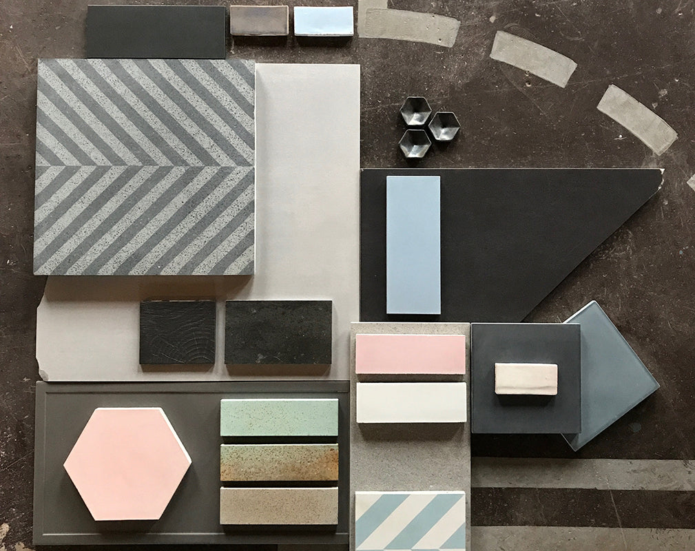 pastel wall and floor tiles for interior design.