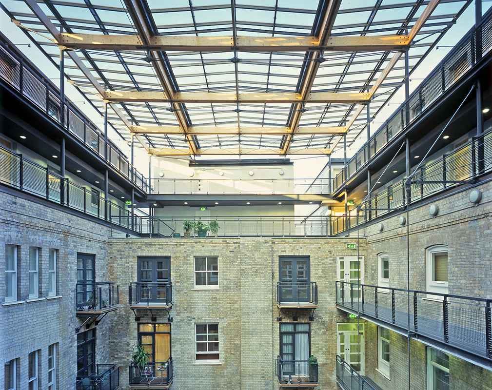 interior courtyard of the grand apartments by ian simpson architects