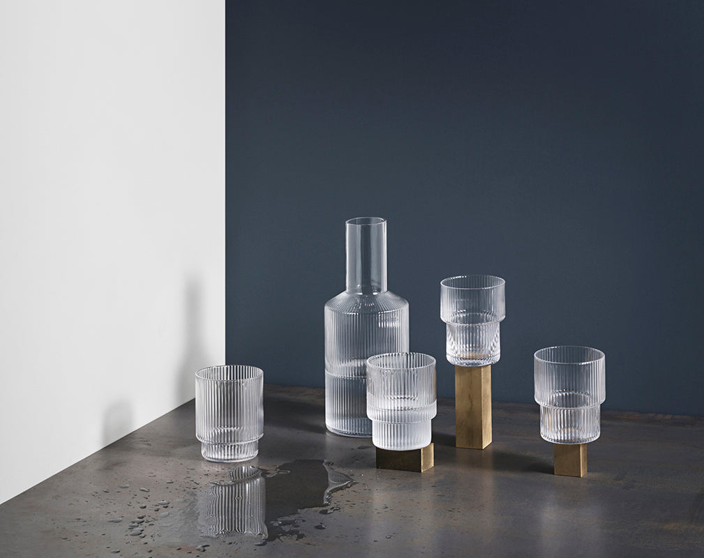 Ripple corrugated glass collection from ferm living