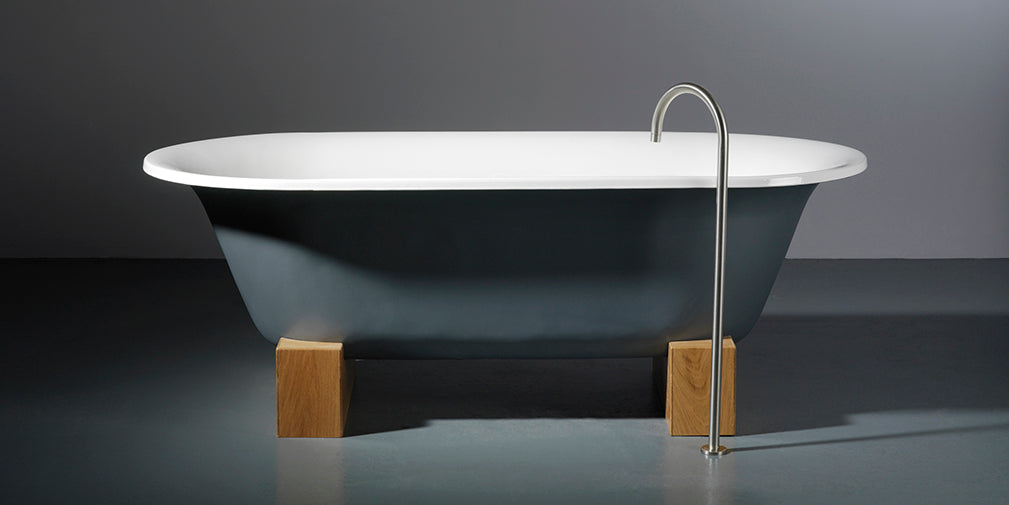 astonian rimini cast iron roll top bath on oak sleepers from aston matthews