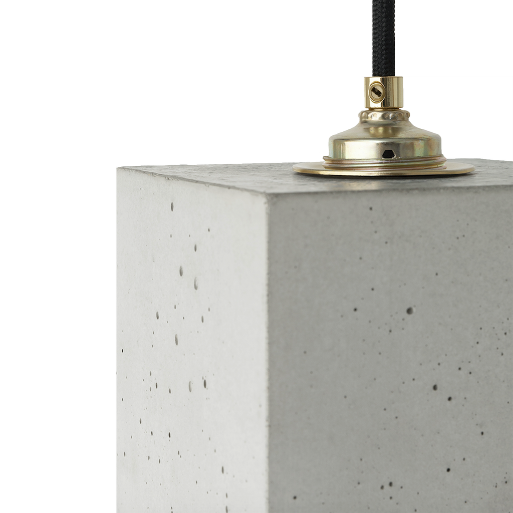 Concrete Cubic Pendant In Light Grey