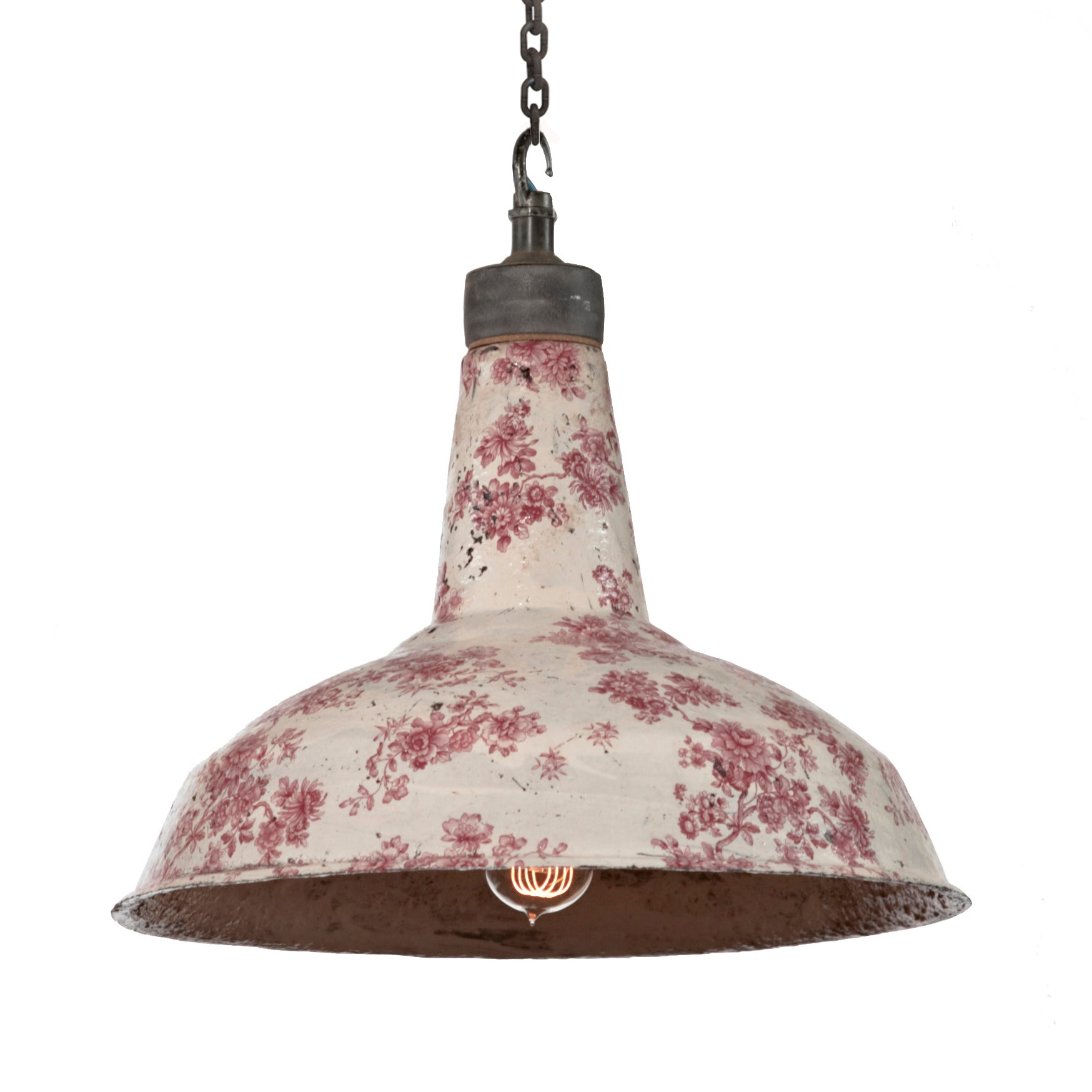 Aditi Studios Flying Scotsman ceramic pendant light in pink floral from Warehouse Home