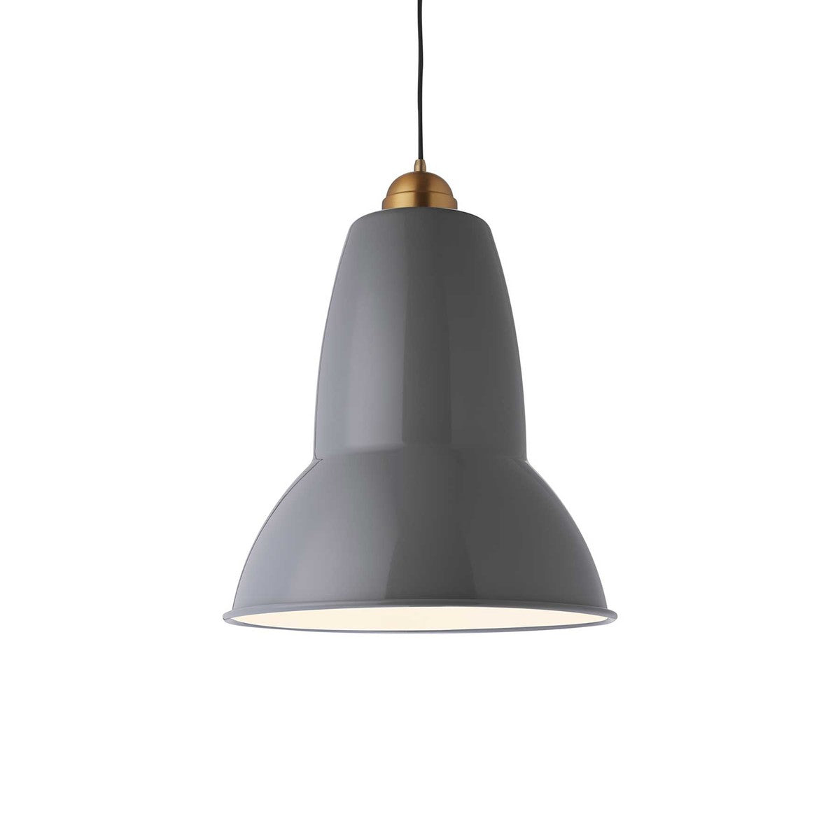 Anglepoise Giant 1227 pendant light in elephant grey with brass detail from Warehouse Home