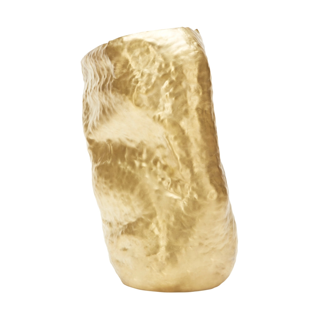 The Tom Dixon Bash Vessel Tall in Brass from Warehouse Home showing back view