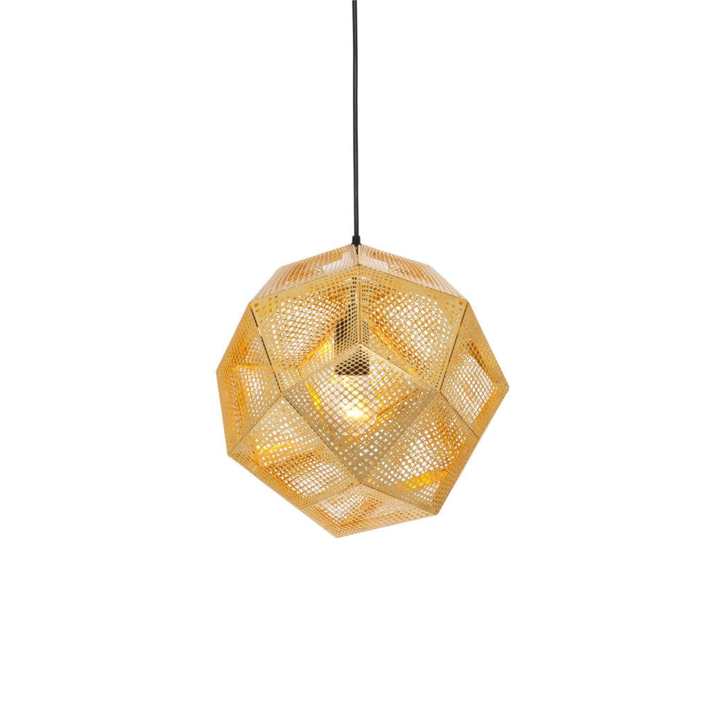 The Tom Dixon Etch Pendant light in Brass from Warehouse Home
