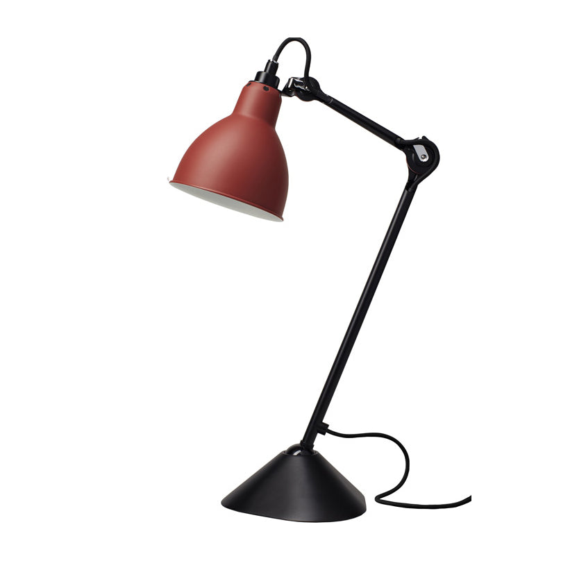 DCW éditions Lampe Gras 205 table lamp with red shade and black arm from Warehouse Home