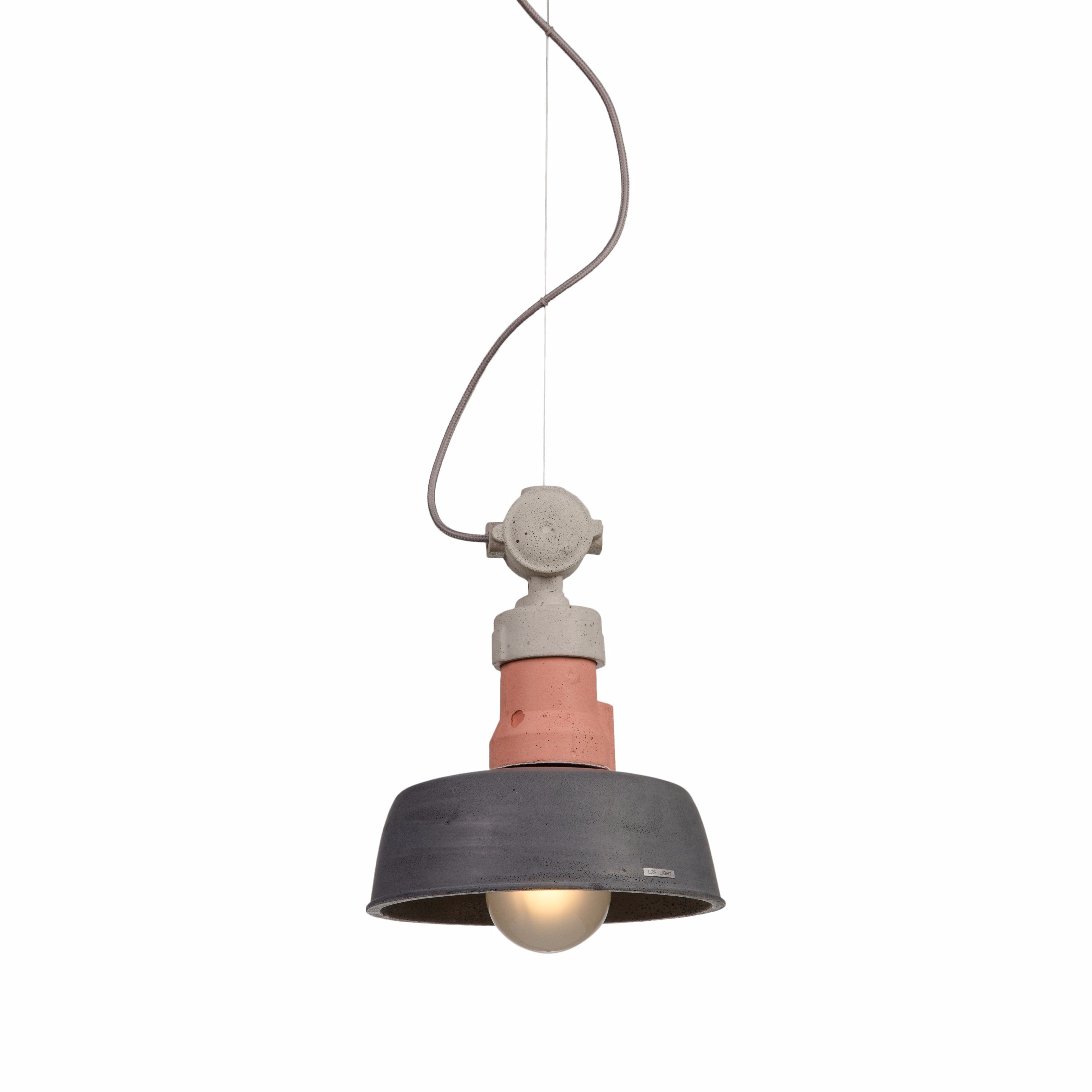 Loftlight Volta industrial pendant lamp with pastel pink detail in hand cast concrete from Warehouse Home