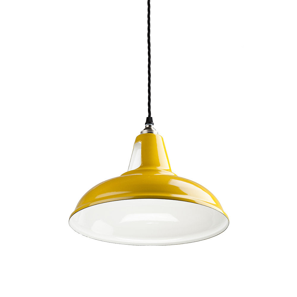 Old School Electric vintage style factory shade pendant in yellow from Warehouse Home online shop