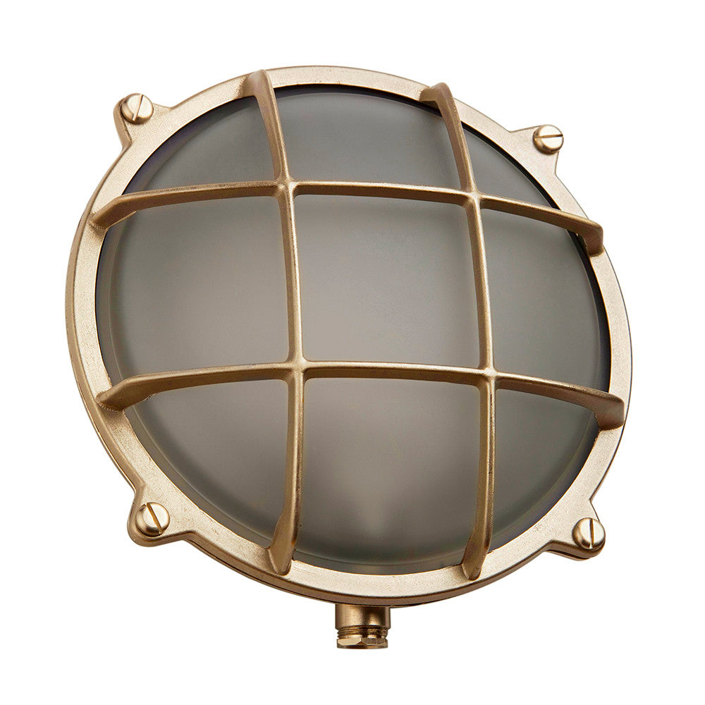 Large Round Bulkhead Light In Brass
