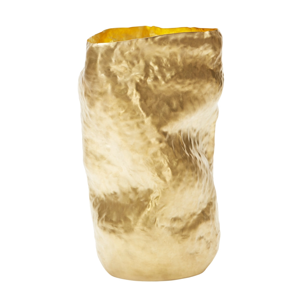 The Tom Dixon Bash Vessel Tall in Brass from Warehouse Home showing side angle