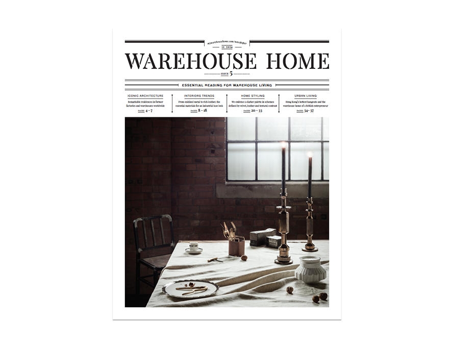 Warehouse Home interior design magazine Issue Five cover features an industrial dining tablescape with brick walls