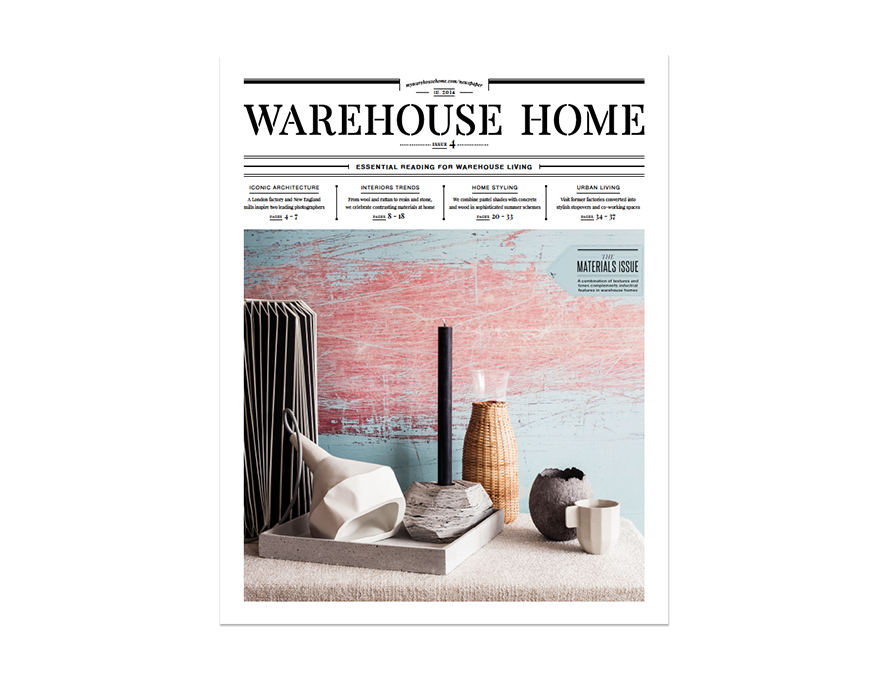 Warehouse Home interior design magazine Issue Four cover features home accessories against blue and pink wallpaper
