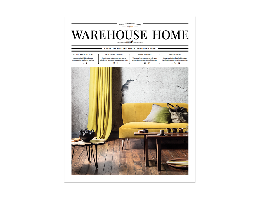 Warehouse Home interior design magazine Issue Six cover features a yellow sofa in a warehouse conversion
