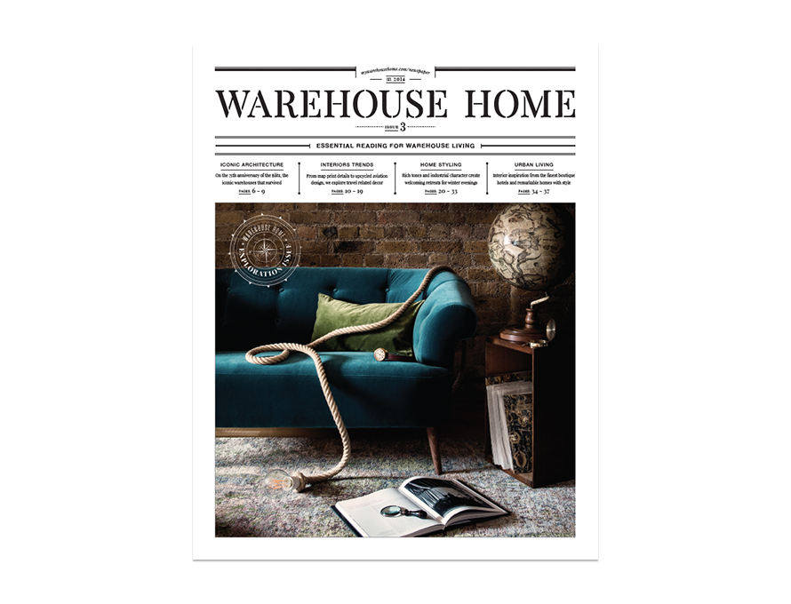 Warehouse Home interior design magazine Issue Three cover features a living room with a blue sofa