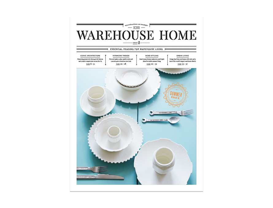 Warehouse Home interior design magazine Issue Two cover features assorted tableware on a blue wooden table
