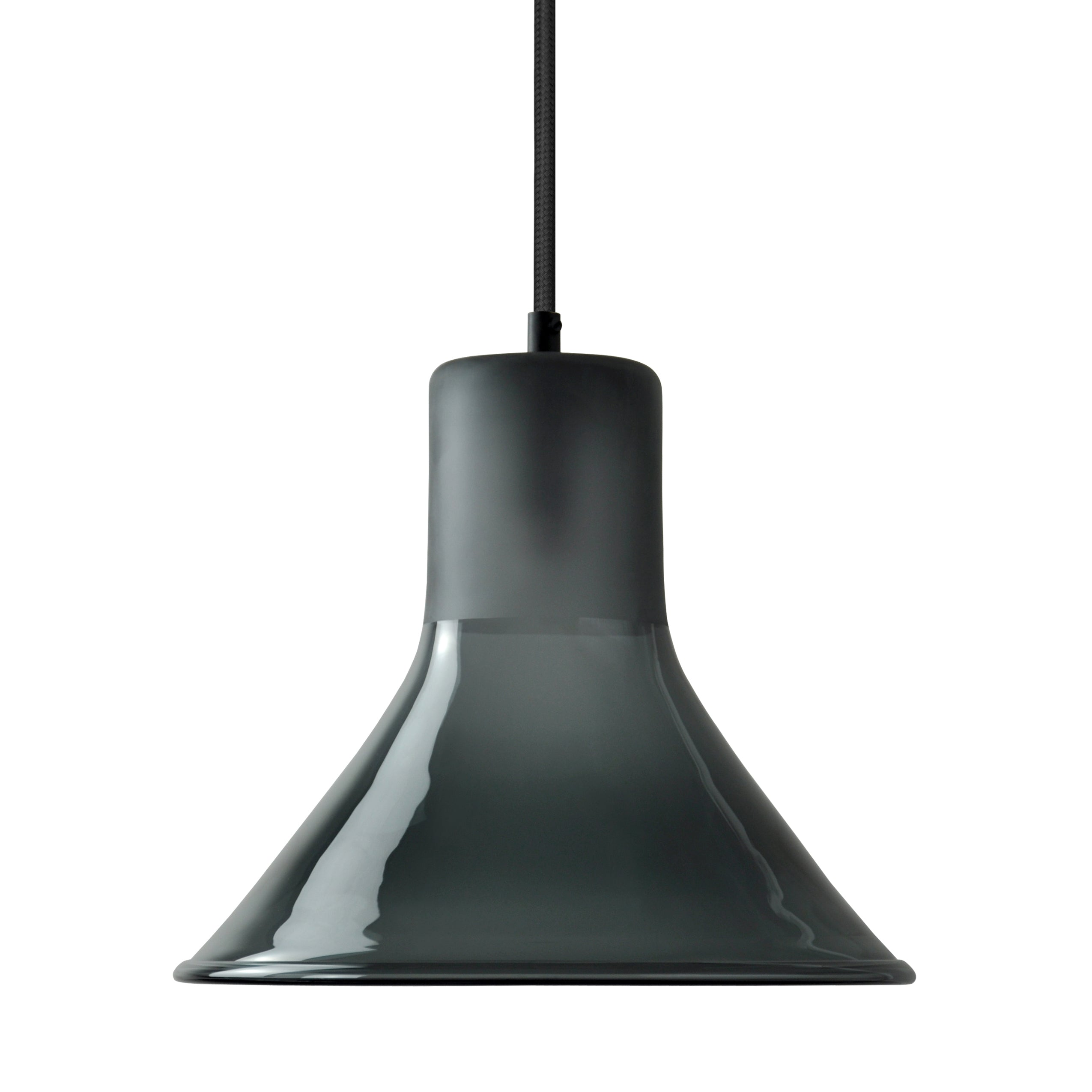 Mineheart Funnel glass pendant light in blue smoke by Young & Battaglia from Warehouse Home
