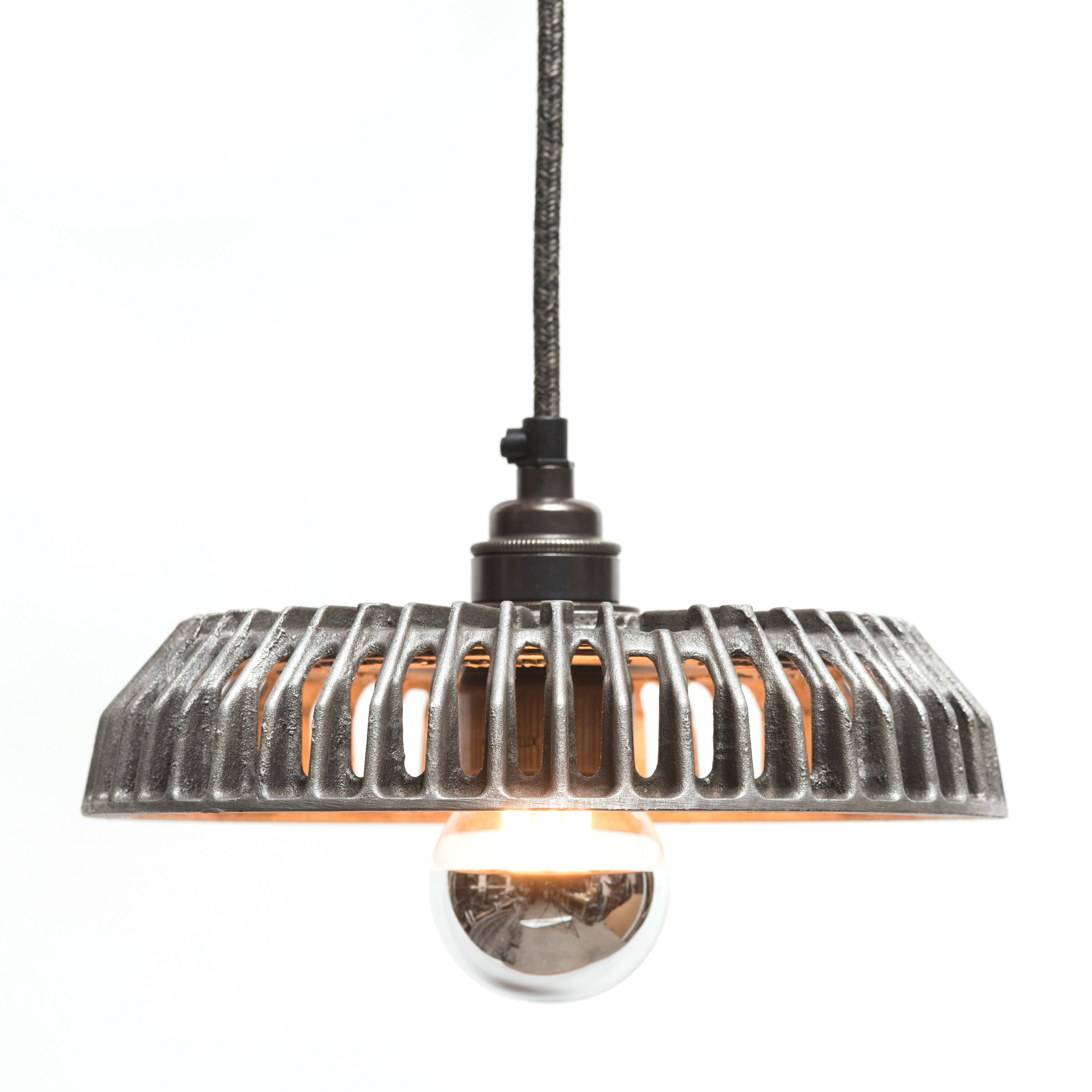 The Rag & Bone Man hand polished Pattern #2 Basket pendant lamp from Warehouse Home