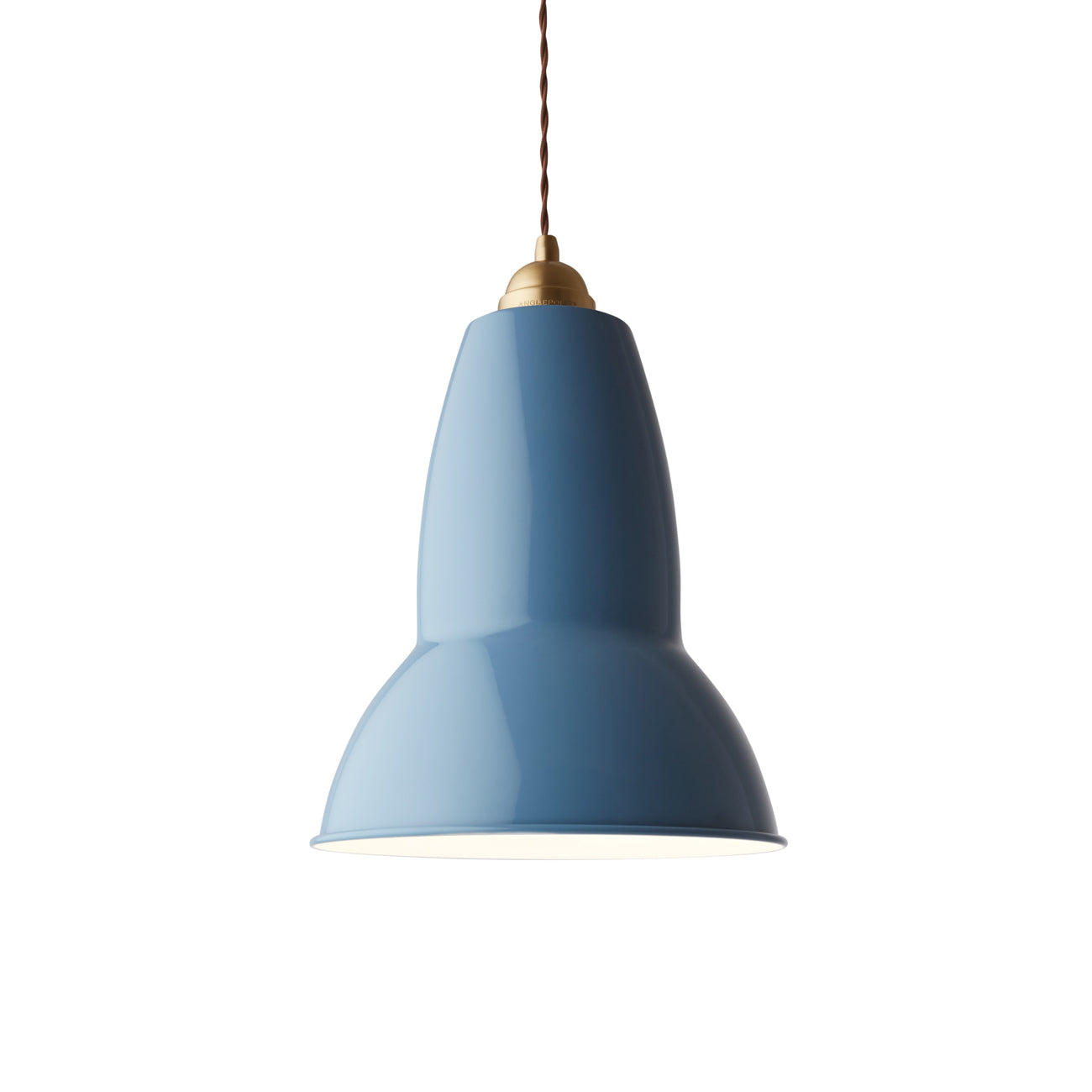 Anglepoise Giant 1227 pendant light in dusty blue with brass detail from Warehouse Home
