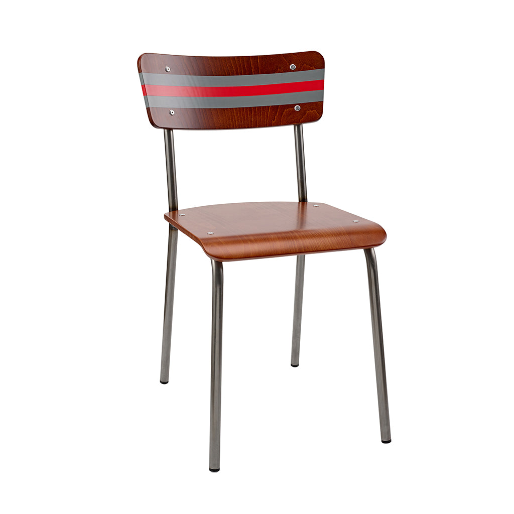 Vintage Industrial Classic School Chair With Scree Silver And Cape Red Stripe