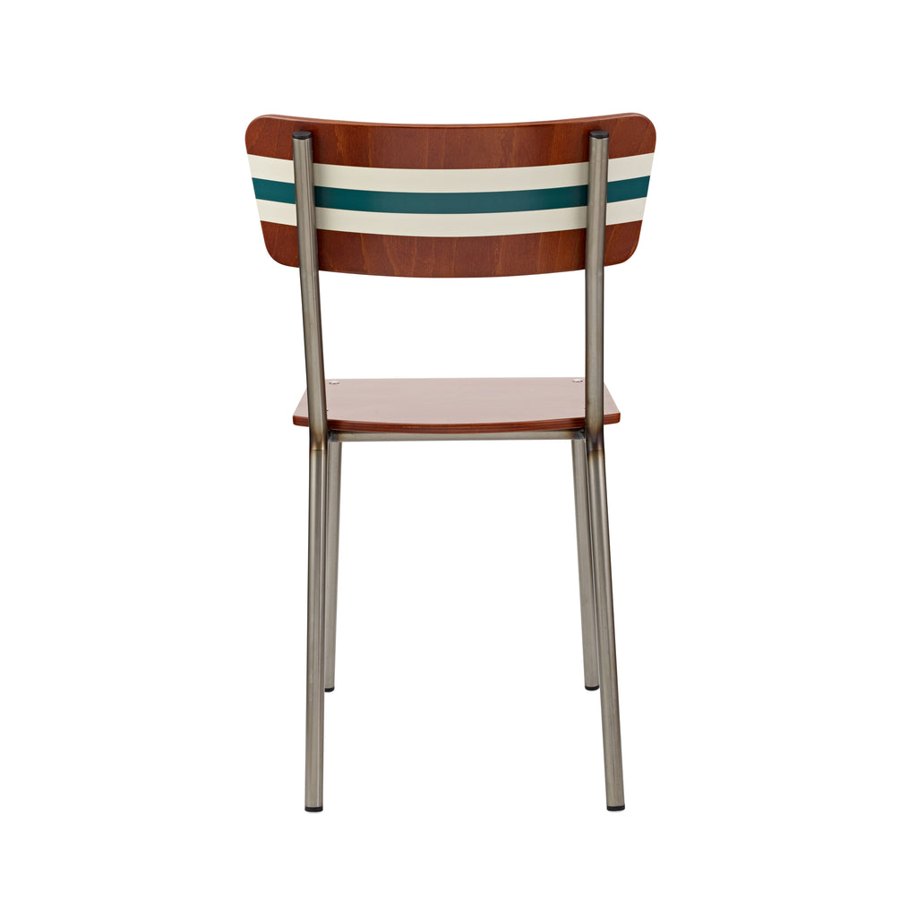 Vintage Industrial Classic School Chair With French Grey And Azure Green Stripe