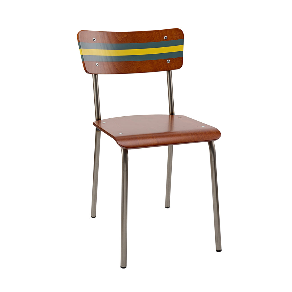 Vintage Industrial Classic School Chair With Canton Green And Gamboge Yellow Stripe