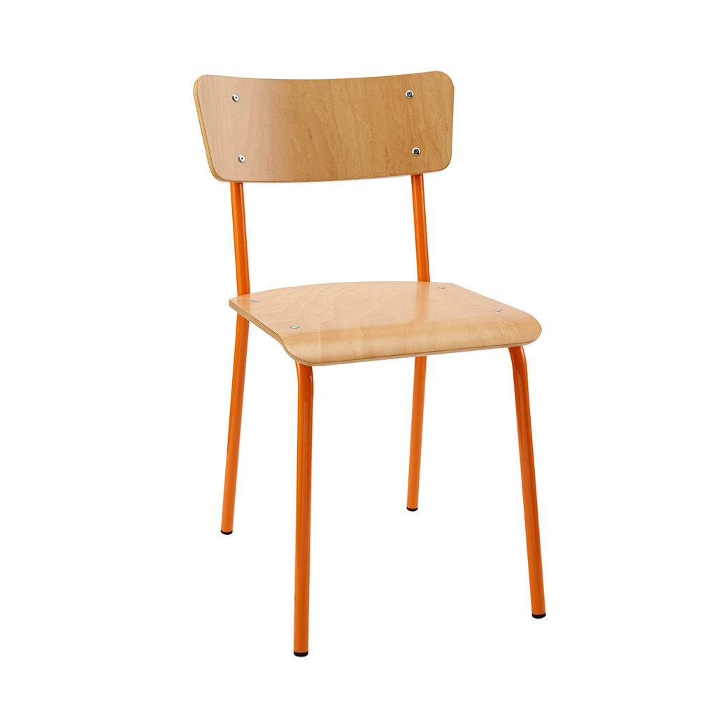 Vintage Industrial Classic School Chair In Natural Beech And Orange