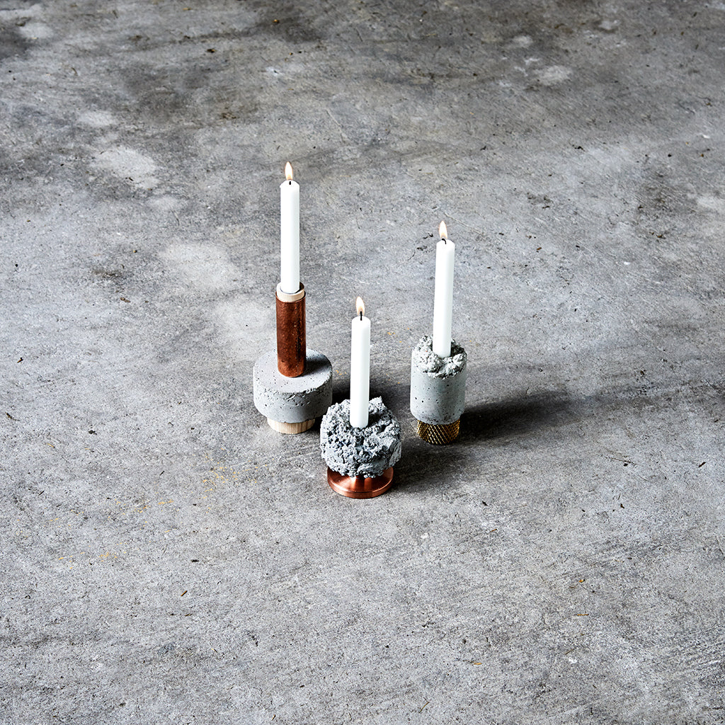 Tall Stuart Crowd Candle Holder In Concrete And Hammered Copper