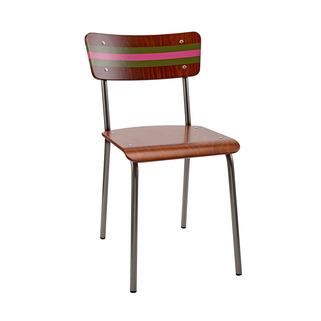 Vintage Industrial Classic School Chair With Olive Green And Mischief Pink Stripe
